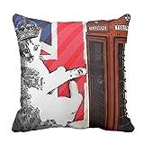 クッションカバー 45×45cm おしゃれ 車用クッション ホーム インテリアー 雑貨モダンなイギリスの旗連合ジャック・ロンドン猫のファッション