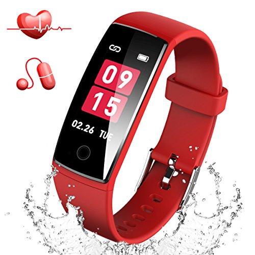 Semiro スマートブレスレット 血圧 心拍計 カラースクリーン スマートウォッチ 防水 最新版 着信 LINE 通知 歩数計 睡眠検測 活動量計 iphone  Android 日本語対応 (レット)