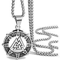 Elfasio Jewelry Stainless Steel Pendant Necklace Mens Valknut Scandinavn Odin Symbol Norse Viking Chain 22inch
