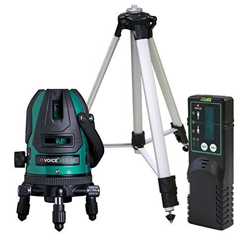 VOICE 5ライン グリーンレーザー墨出し器 VLG-5X メーカー1年保証 4方向大矩照射モデル【三脚・受光器セット】