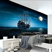 Xueshao カスタム壁紙美しいヨット月光風景カスタム壁画寝室の装飾的な背景の壁紙-280X200Cm