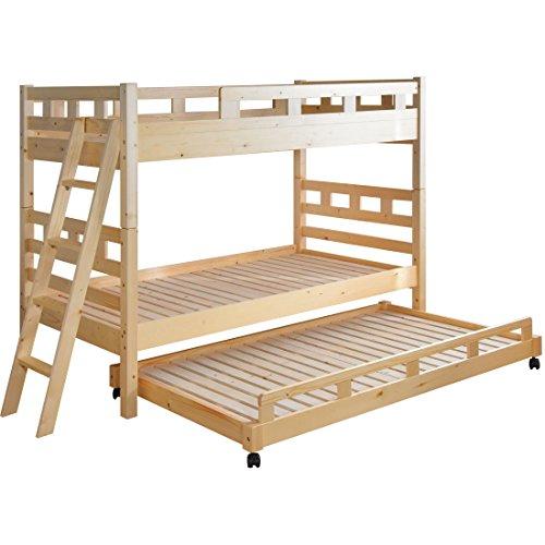 タンスのゲン 2段親子ベッド 【2段ベッド + キャスター付きベッド】耐荷重:1段あたり約120kg パイン無垢材 すのこ床板 3段ベッド ナチュラル 4960000400