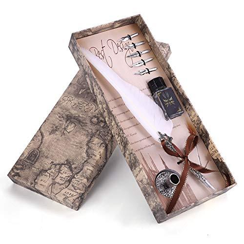 Richer-R レトロ万年筆セット 古典的な書道ペン 自然...