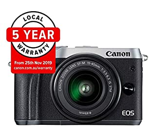 Canon EOS M6 Single Kit with EF-M 15-45mm IS STM Compact System Camera(M6KISS) 3 Inch Display,Silver (Australian warranty) (B077JL3DF8) | Amazon price tracker / tracking, Amazon price history charts, Amazon price watches, Amazon price drop alerts