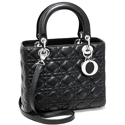(クリスチャン・ディオール) Christian Dior 2WAYハンドバッグ レディディオール ラムスキン 黒 CAL44551