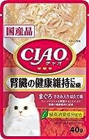 チャオ (CIAO) キャットフード パウチ 腎臓の健康維持に配慮 まぐろ ささみ入り ほたて味 40g