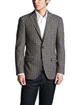 Blended Wool Check 2-button Jacket 3122-110-0316: Navy
