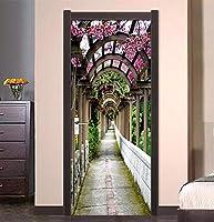 3Dドアステッカーガーデン廊下PVC防水取り外し可能Diy自己粘着壁飾りリビングルームホームベッドルームウォールステッカーの装飾(77X200Cm)