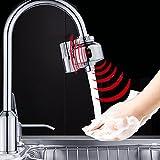 GIBO 自動センサー水栓 キッチン用水栓金具 センサー蛇口 自動水栓蛇口 洗面用水栓 センサー吐水・止水 金属製 二重センサー 節水 取り付け簡単 シルバー