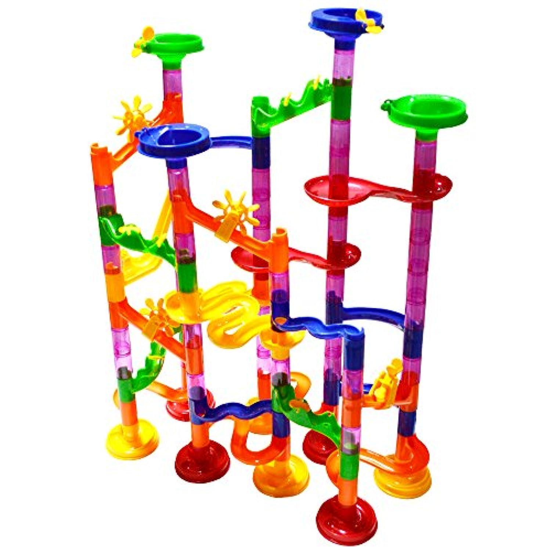 B.H. Select ビーズコースター ビー玉転がし スロープ (105pcs) 知育玩具 迷路 組み立て (ビーズコースター JOY@MarbleRan105)