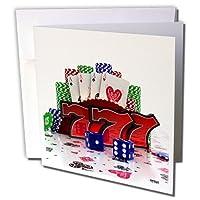 カルステンライジンガーイラスト− Illustrations–with概念Casino Poker CardsチップDice andスロットスタイルSevens–グリーティングカード Set of 6 Greeting Cards