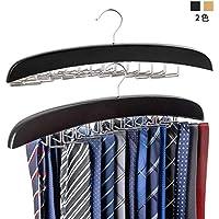 ネクタイハンガー ネクタイ収納 ネクタイ掛け 24本掛け 木製ハンガー ベルト/ネクタイ/スカーフ/キャミソール 収納 整理 滑らないハンガー (黒)