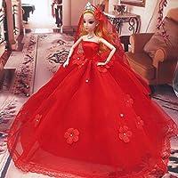 豪華な手作りバービー人形ストラップレスフラワーパールスタッズ付きウェディングドレスベールレッド