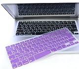 日本語 キーボードカバー Mac Book Air Pro Retina 13 15インチ (紫)