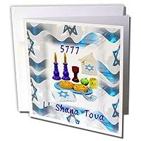 ユダヤテーマ–イメージのシンボルの上の新しい年のイスラエル国旗–グリーティングカード Set of 6 Greeting Cards