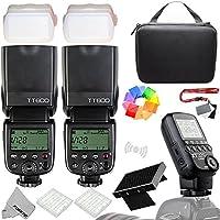 Fomito Godox xt32-c 1個ワイヤレス電源制御フラッシュトリガー+ 2個Godox tt600フラッシュスピードライト2.4GワイヤレスXシステムCanon EOS DSLRカメラ