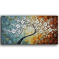 (ヤ・シェン・アート) YaSheng Art 100% 手描き 現代アート 油彩画 キャンバスアート テクスチャ パレット ナイフ 木絵画 モダンホームインテリア 装飾 抽象画 3D 花絵画 20x40inch (50x100cm) YS-0010-20x40inch