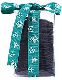 ヘアゴム リングゴム、余分な厚い髪のエラスティック編みの弾性、ミディアムヘアの100本 結び目?接合なしタイプ (ブラック4mm+2mm)