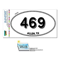 469 - アレン, TX - テキサス州 - 楕円形市外局番ステッカー