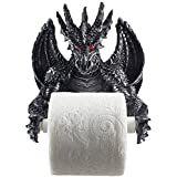 Mythical Winged Dragon Toilet Paper Holder in Metallic Look for Medieval and Gothic Home Decor Bathroom Accessories or Whimsi