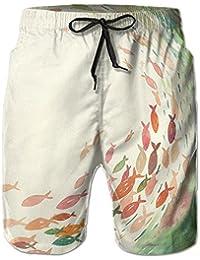メンズ サーフパンツ 赤い魚 海水パンツ ビーチパンツ ハーフパンツ ショートパンツ 吸汗 速乾 オシャレな柄 部屋着 海水浴