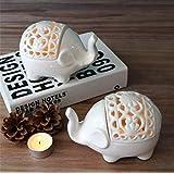 2 PCS Set Cute Elephant Shaped Openwork Design Ceramic Decorative Tea Light Candleholder