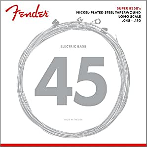 Fender エレキベース弦 8250 Bass Strings, Nickel Plated Steel Taperwound, Long Scale, 8250M .045-.110