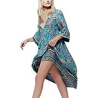 Misaky women dress Women's O-Neck Ink Printing Loose Tank Linen Dress Plus Size