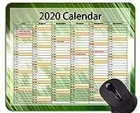 カレンダー2020年ゲーミングマウスパッド、抽象的な色緑テーマオフィスマウスパッド