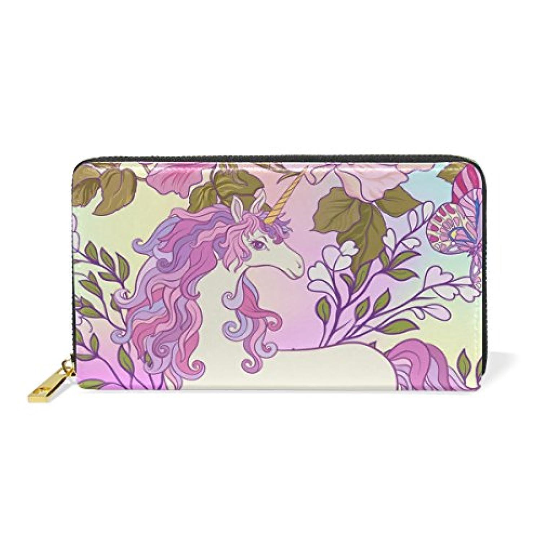 財布 レディース 長財布 大容量 かわいい ユニコーン 花柄 カラフル おしゃれ きれい ファスナー財布 ウォレット 薄型 本革 型押し 小銭入れ プレゼント用