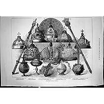 王位の象徴の王冠の皇后のアナのロシア帝国球体ピーター 11 の旧式な印刷物 1883