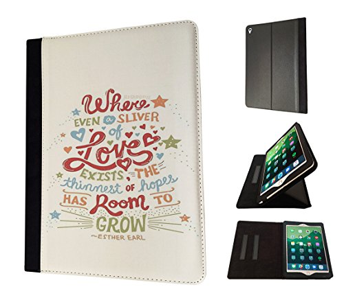 "002299 - Christian Quote Where Even a silver of loves Exist the thinnest of hopes has room to grow Design Apple ipad Pro 9.7"" 2016 レザー手帳型ケース ダイアリト スタンド 財布型"