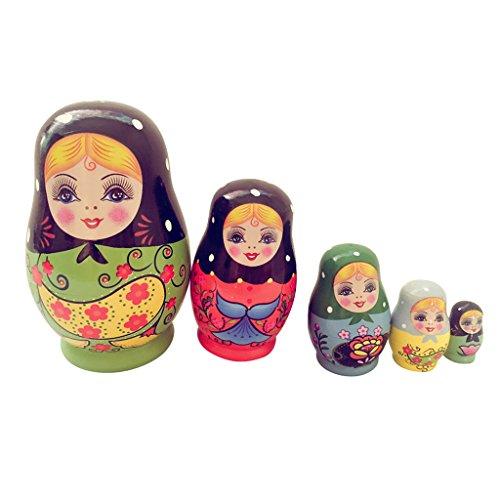Lovoski 5個 木製 ロシア マトリョーシカ 絵画 人形のおもちゃ 綺麗 女の子 お礼物