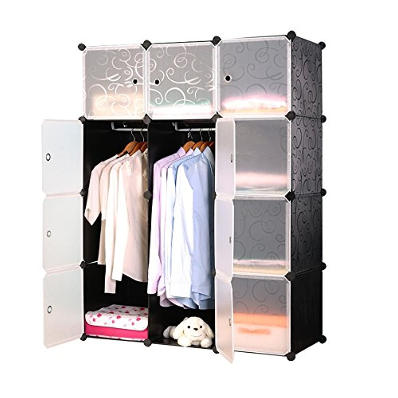MCTECH ワードローブ クローゼット 大容量 組み立て式 扉付き プラスチック 収納棚 2つ吊り棒があり 衣類ケース カバン 洋服·衣類収納 シューズボックス 洗い可能 12BOX