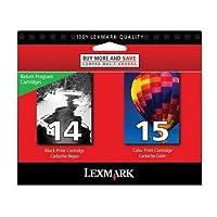 Lexmark # 14/ # 15x2600/ x2670ブラック/カラーReturnプログラムインクIncludes 1の各18C2090& 18C21101つのみ販売