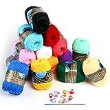 LIHAO 毛糸 50g±2g玉巻(約160m) 全15色 アクリル 棒針キャップ かぎ針 段数マーカー付き クリスマスプレゼント