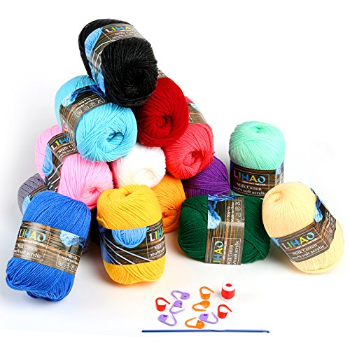 RoomClip商品情報 - LIHAO 毛糸 50g±2g玉巻(約160m) 全15色 アクリル 棒針キャップ かぎ針 段数マーカー付き クリスマスプレゼント