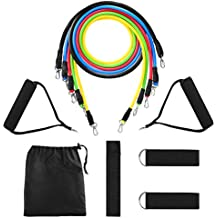 Yissvic 11Pcs Resistance Band Set Exercise Bands Workout Band for Resistance Training Physical Therapy Home Workouts with Door Anchor Handles Ankle Straps Stackable up to 100LB