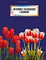 internet password logbook: 8.5x11 cute internet password book | cool internet password logbook paper with page numbers | internet password logbook | internet password notebook journal paper | tulip flower plant nature navy color
