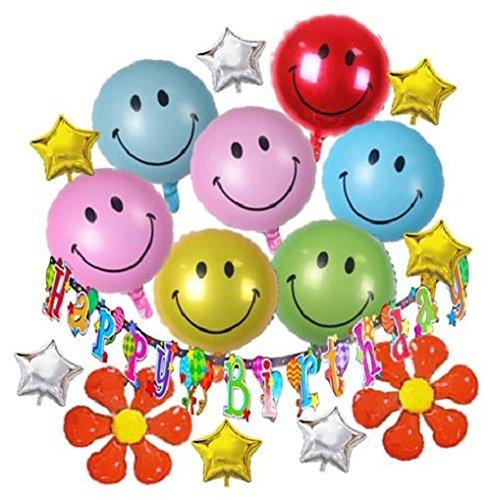 [해외]HOPIC 생일 장식 화환 배너 풍선 축하 파티 방 알루미늄 풍선 생일 장식 스마일/HOPIC birthday decoration garland banner balloon celebration party room aluminum balloon birthday decoration smile
