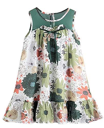 [サコイユ] ワンピース 110~160 ガールズ 花柄 ノースリーブ 女の子 チュニック リボン 付き お花 キッズ ジュニア