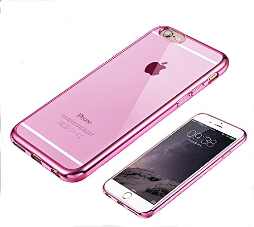 【BRGCo】 iPhone 6plus / 6splus スリム TPU ケース メッキ加工 9H強化ガラスフィルム セット (iPhone6plus/6splus(5.5), ピンク)