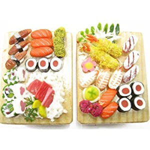 NEW Dolls House Miniature Food 2 Japanese Sushi Bento Lunch Set Deco 9309 ドール 人形 フィギュア(並行輸入)