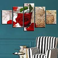 Ssckll 家の装飾壁アートキャンバスHdプリントポスターベッドサイドの背景5ピース花書道写真スプレー絵画-フレーム