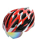 ROCKBROS(ロックブロス) サイクリングヘルメット アイウェア格納 WT055 全5色(レッド&ブラック&シルバー,)