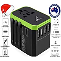 LE TILLAY Universal Travel Adaptor 5.6A (MAX) - High Speed 2.4A -4 USB and 1 Type-C for AU US EU UK - International Power Adapter - Universal Travel Adapter - Worldwide All in One Plugs Converter Smart Charger AC Power Wall Plug for Worldwide 150+ Countries like Europe Asia Japan Australia Middle East India Israel Germany France Italy India Africa China Russia American British European Adaptor (GREEN)