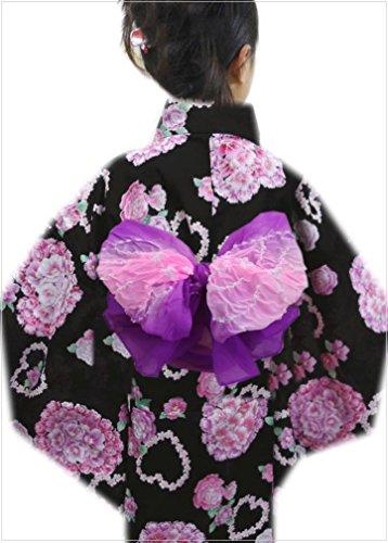 子供ふわっふわ絞り兵児帯紫色地薄ピンク キッズ女の子用(男の子用) 浴衣&着物に