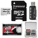 Transcend 128GB microSDXC UHS-I Class 10 U3 V30 A1 メモリーカード アダプター + リーダー + ケース + キット