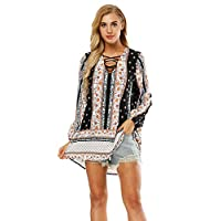 URVIP Women Floral Print long Sleeve Sexy Deep V-Neck Tunic Top Casual Dress