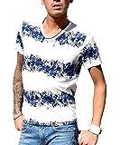 (JOKER Select) Tシャツ メンズ 半袖 Vネック プリント おしゃれ ボーダー 花柄 アロハ